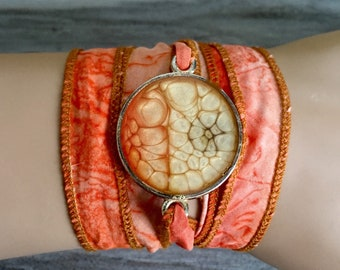 Sunset Sensation silk wrap bracelet Gift for her Gift for Women Orange wrap One of a kind bracelet