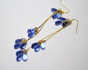 blue earrings gold earrings cluster earrings dangle earrings blue gold jewelry gift earrings gift/for/wife earrings teardrop earrings cя5