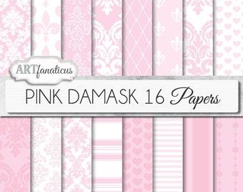 "Wedding Damask digital papers ""PINK DAMASK"" elegant, pink, white, blush damask, weddings,showers, scrapbooking,birthday, invites,home décor"