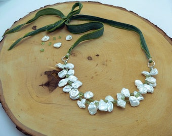 Reiki Healing Necklace, Pearl Necklace, Peridot, Silk Ribbon Necklace, Confidence, Self-Love, Prosperity Necklace
