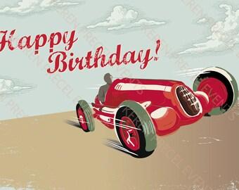 Vintage race car party theme backdrop