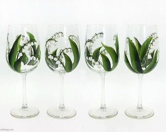 Hand Painted Lily of the Valley Wine Glasses Set of 4 Lilies Stemware Easter Spring Wine glass