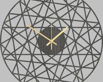 Polygonal -  Handmade Geometrical Wooden Wall Clock, Modern Home Decor, Simple Wood Clock, Wooden Gift, Large Clock, Gray Oak Wall Clocks