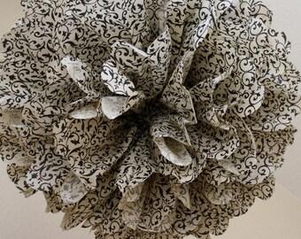 Tissue Paper Pom Pom -Gorgeous Antique Floral Brocade -SALE - Rustic Damask Wedding Decoration