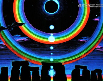 Eclipse Over Stonehenge UV Black Light Fluorescent & Glow In The Dark Phosphorescent Psychedelic Psy Goa Trance Art Postcard