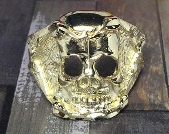 BIG 10k solid gold skull ring
