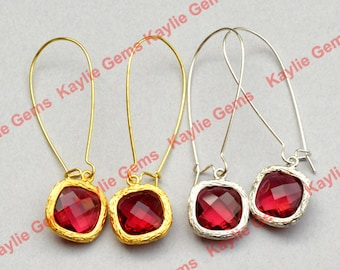 Earrings Kidney Wire Silver 14mm Faceted Glass Jewel Silver/ Gold Plated 2 inches