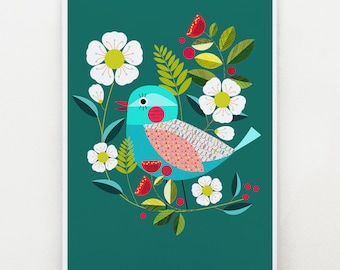 Pretty bird, on emerald green, print