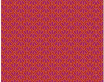 SALE Daisy Janie New Leaf Fantail Raspberry Organic Cotton fabric