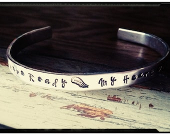 Your Wings were ready My heart was not - Stamped Cuff//1100 Aluminum - Bereavement Bracelet//Loved One Loss//Keepsake Jewelry//Memorial Cuff