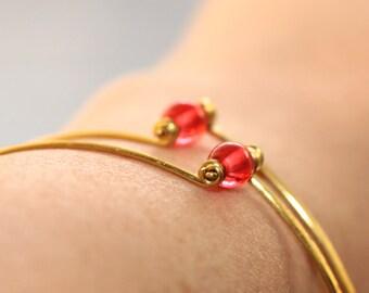 Simple Bangle Bracelet * Simple Bracelet * Minimalist Jewelry * Red Bracelet * Stacking Bracelet * Thin Bracelet...*Silent Language Cursing*