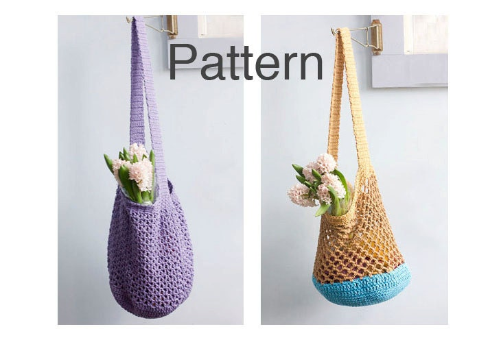 Two Market Tote Crochet Patterns Shopping Bag Pattern Slouchy Bag