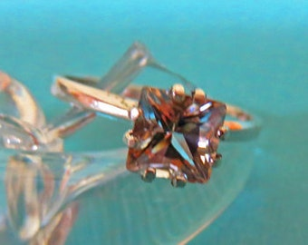 Topaz Ring -  Princess-Cut White Topaz & Sterling Silver Ring - Woman's Ring Size 6 3/4