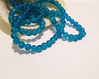 50 Turquoise Glass Crackle Beads 6mm Jewelry Supplies TCGB6-50BD1-22