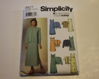 Simplicity 5677 Misses' Pullover Dress in Three Lengths and Jacket (Easy) Sizes 6,8,10,12 UNCUT