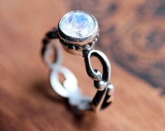 Rainbow moonstone engagement ring, rainbow moonstone ring, moonstone ring silver, infinity engagement ring, bezel ring, custom, Wrought ring