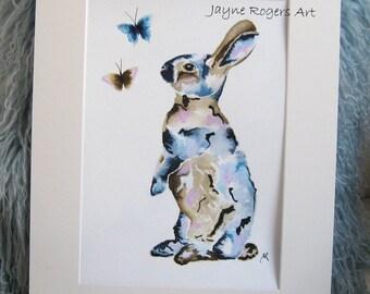 ORIGINAL Rabbit Painting, Hare Art Work, Animal Art, Patchwork Style Wall Art, Nursery Art, Animal Painting, Nursery Decor