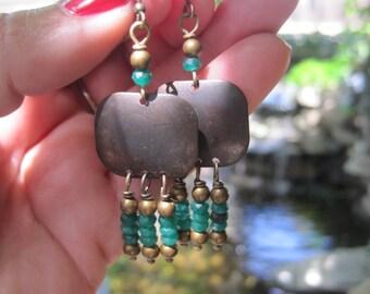 Emerald Heishi Dangle and Rustic Brass Gypsy Boho Chandelier Earrings - Rustic Boho Earrings - Emerald Earrings