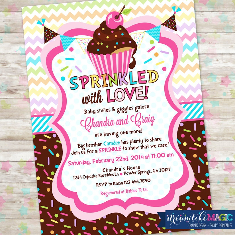 Baby Sprinkle Cupcake Baby Shower Invitation with Cupcakes