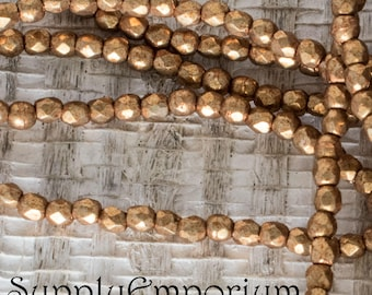 2mm Saturate Metallic Flame Firepolished Faceted Round Bead - Czech Glass Fire Polished 2mm Metallic Flame Gold Round Beads -4834- 50 Beads