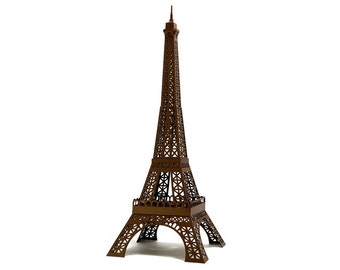 Eiffel Tower - hand assembled architectural paper replica of famous Paris landmark || 40 cm - 16 inches high || bronze color metallic paper