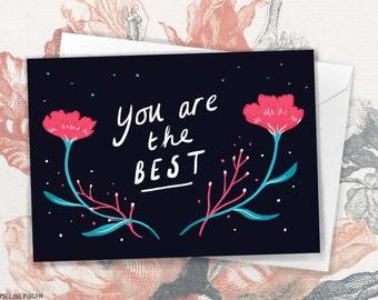 You Are The Best! - Modern Floral Thank You Greeting Card by Emmeline Pidgen Illustration