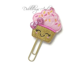 Cupcake Planner Clip, Pink and Gold Cupcake Bookmark Clip, Felt Paper Clips, Accessory For Planners, Organizer Clips, Felt Planner Clips