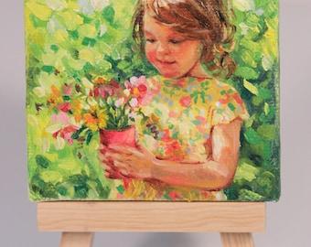 """Custom mini portrait painting in oil 3x4"""" miniature"""
