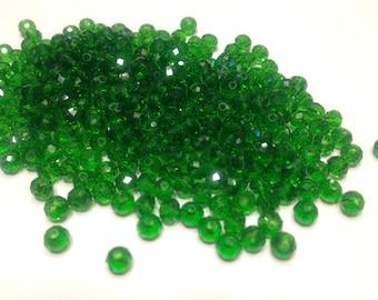 50 rondelle crystal beads green turma, 3 x 4 mm (4)