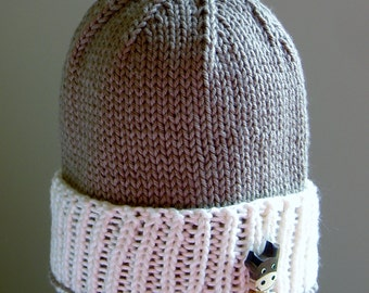 PDF PATTERN:  Watch Cap Rib Brim Infant, Toddler, Children's Hat