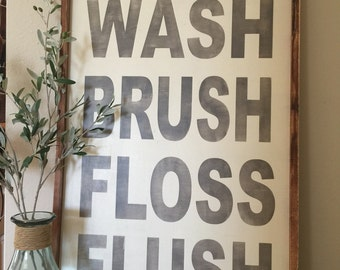 Wash brush floss flush, 24x36, Framed wood Sign