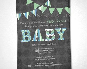 Baby Pennants Baby Shower Invitation - Blue Green - DIY Printable