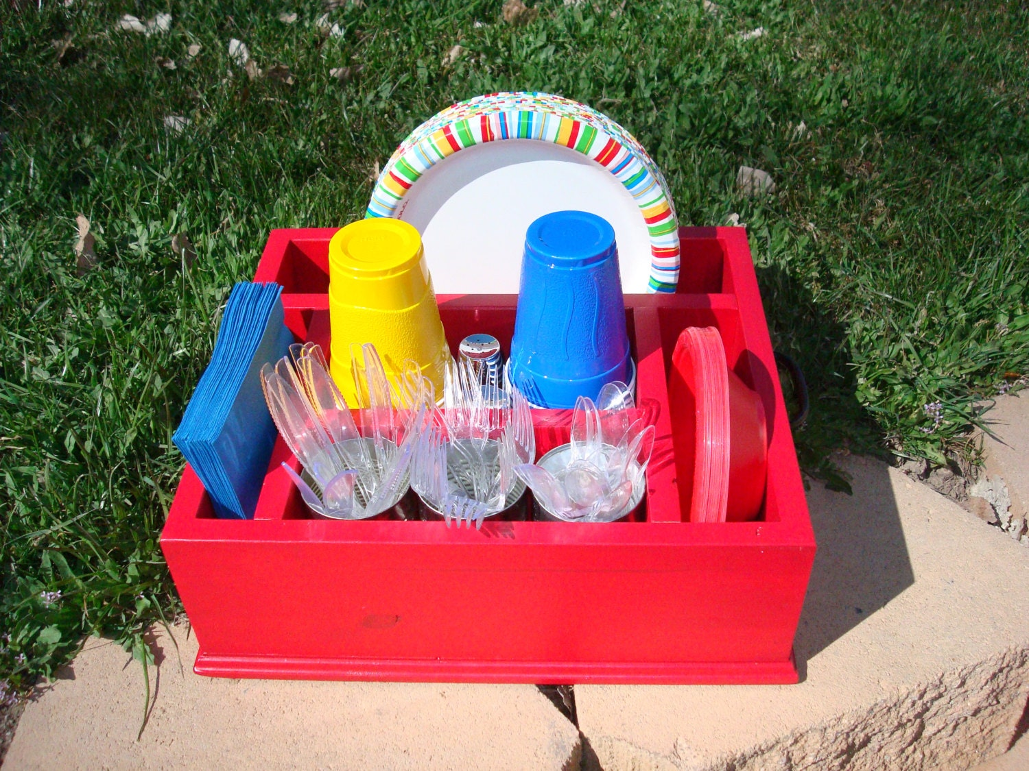 Red tableware utensil caddy organizer party decor for napkins