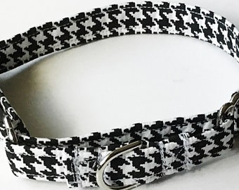 Black and White Houndstooth Martingale Dog Collar