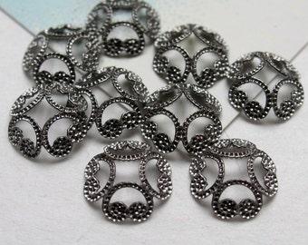 10 Antique Silver Filigree Style Bead Caps, Oxidized Silver Bead Caps, Lacey Silver Bead Caps