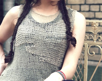 bohemian clothing - womens tank top - gypsy clothing- knit top - bohemian - linen top - loose knit - crochet for sale