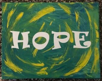 """Tie Dye HOPE Painting - 8"""" x 10"""""""