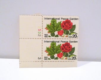 International Peace Garden Stamps (2) 1982 Vintage Red Roses 20 cent postage stamp America United States Block of 4 North Dakota Canada 80s