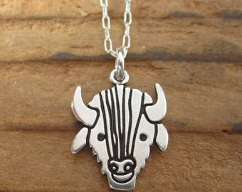 Sterling Silver Buffalo Necklace - Cute Bison Pendant