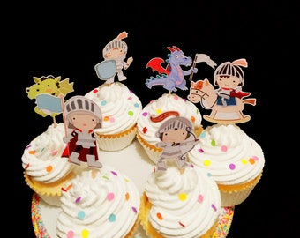 Knights And Dragons Cupcake Toppers