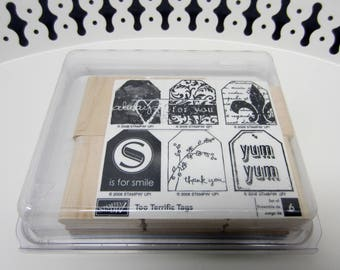 Stampin Up Wooden Stamps Set of 6 Too Terrific Tags 2006 StampinUp! Gift Tags Thank You Smile For you Smile Yum Love Always Unmounted (109)