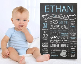 Little Men First Birthday Chalkboard Printable sign - Light blue Mustache Bows and Ties Chalkboard sign 1st birthday party - DIGITAL FILE!