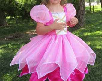 Cute Pink Fabulous Fairy Princess Tinkerbelle Costume Gown Pixie Make Believe, Pretend play, dress-up, halloween, birthday dress