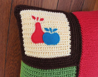 Crochet Throw Pillow Yellow/Green/Brown/Coral Apple and Pear, Decorative Pillow, 16 x 16