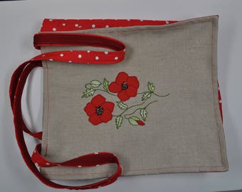 bag natural linen and cotton red with white dots model poppy