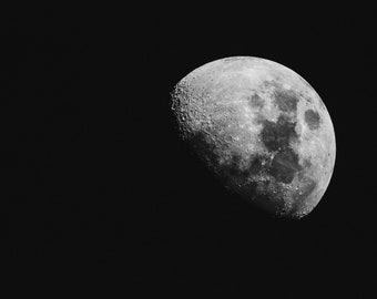 Moon photography, moon fine print art, moon art, lunar photo, astrophotography, nature photography, science art, black and white, night