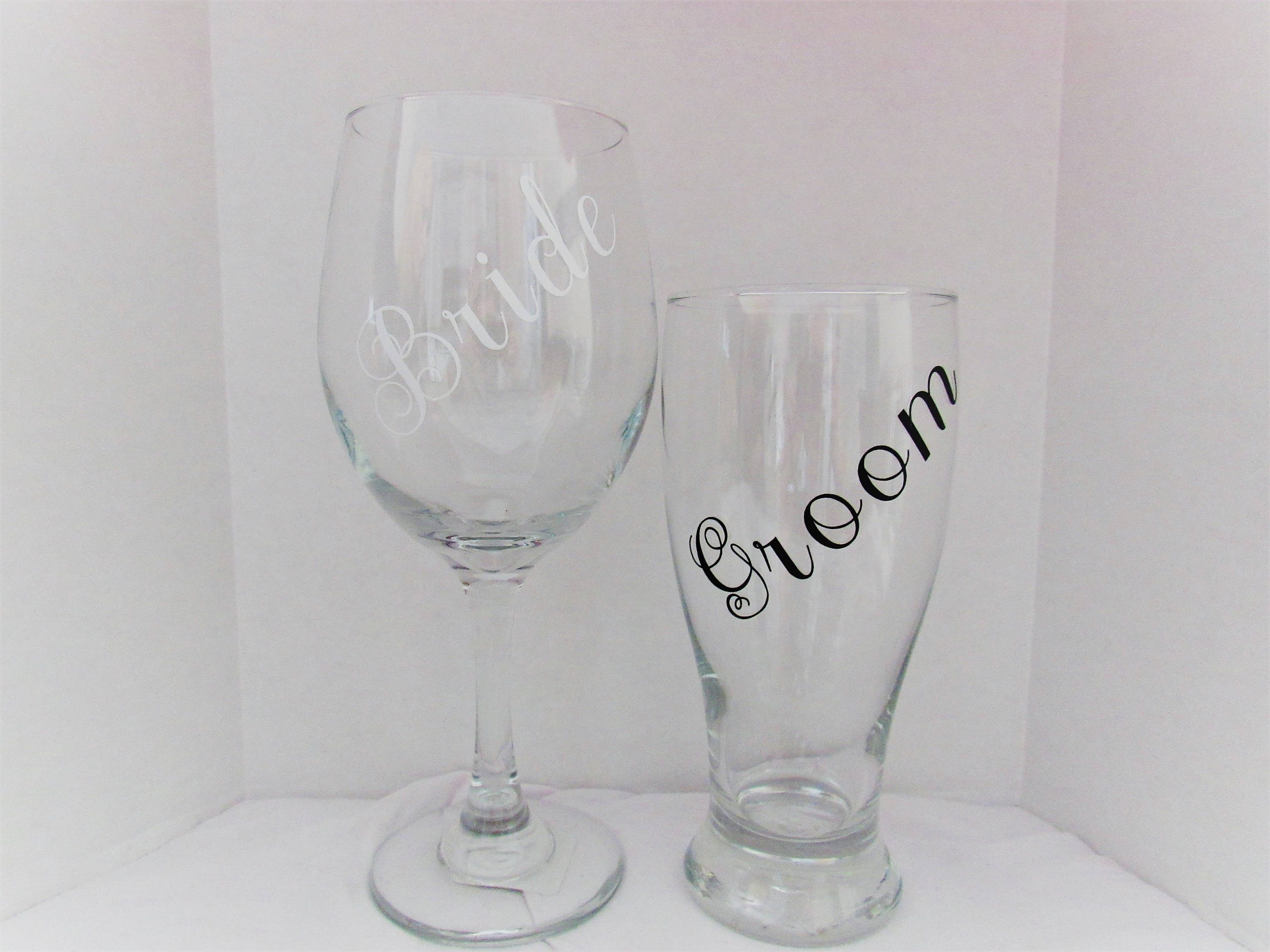 Bride & Groom Wine Glass and Beer Glass bride and groom his