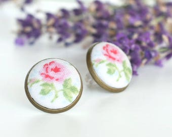 Stud Earrings - Shabby Cottage Chic Rose Earring Studs - Pink Green Flowers on White Earrings Romantic Fabric Buttons Jewelry Antique Posts