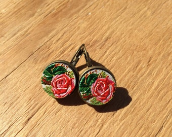 Roses are Sweet but not as Sweet As You.:Wood French Lever Earrings
