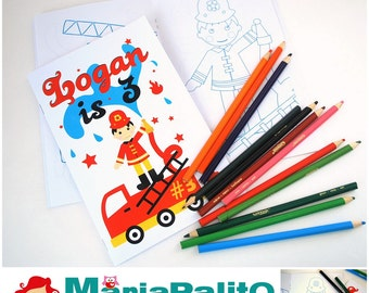 6 Firetruck Coloring Books, Fireman Firefighters Birthday Party, Personalized Coloring Books Party Favors  A924